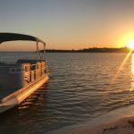 Boat cruise sunset